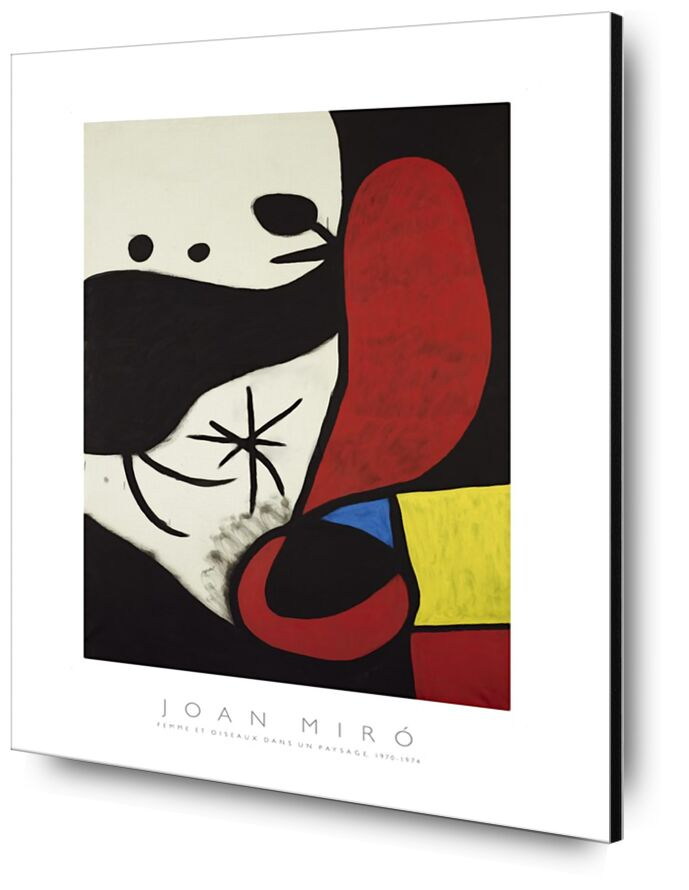 Women and Birds in a Landscape - Joan Miró from AUX BEAUX-ARTS, Prodi Art, Joan Miró, painting, abstract, woman, poster, colors