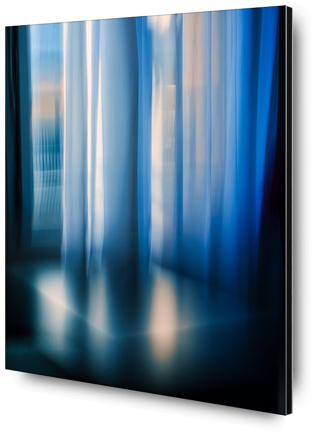 Les rideaux de Céline Pivoine Eyes, Prodi Art, chambre, Un hôtel, Mode de vie, ICM, Mouvement intentionnel de la caméra, flou artistique, art abstrait, Photographie abstraite, bleu, décoration, fenêtre, architecture, Rideaux