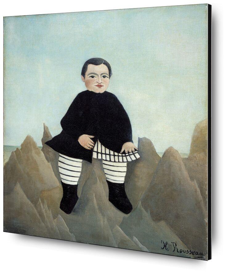 Boy on the Rocks from AUX BEAUX-ARTS, Prodi Art, child, boy, rousseau, rock, painting, portrait