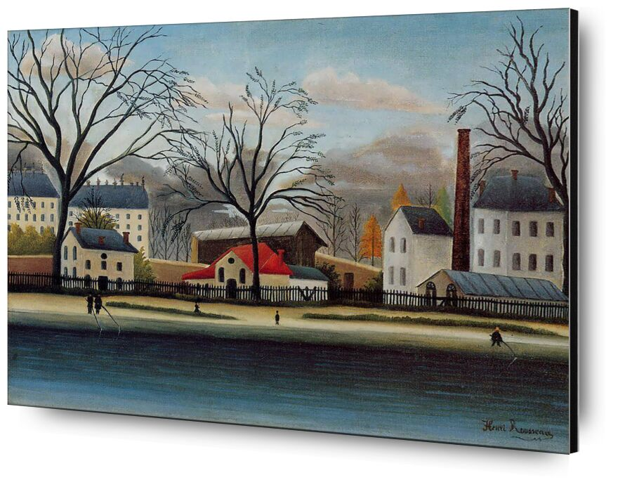 Suburban Scene from Aux Beaux-Arts, Prodi Art, rousseau, painting, houses, tree, autumn, sky, clouds, suburbs