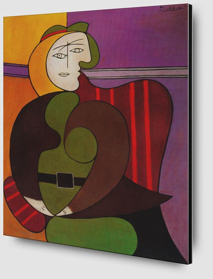 Seated Woman in a Red Armchair desde AUX BEAUX-ARTS Zoom Alu Dibond Image