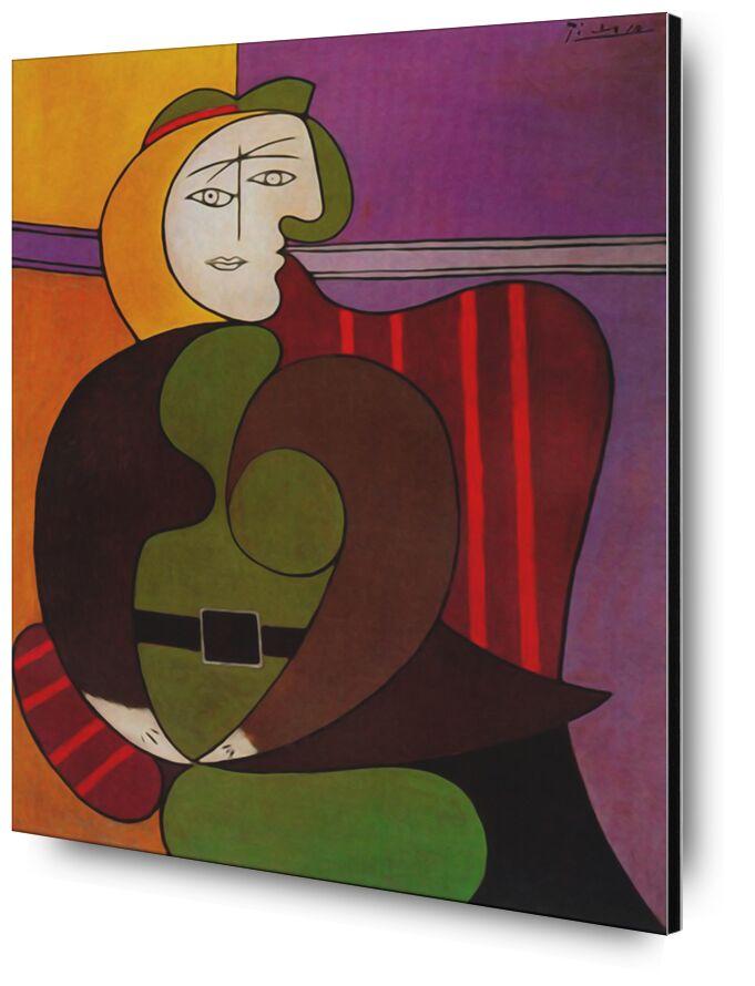 Seated Woman in a Red Armchair desde AUX BEAUX-ARTS, Prodi Art, picasso, pintura, Sillón, abstracto, cubismo, retrato