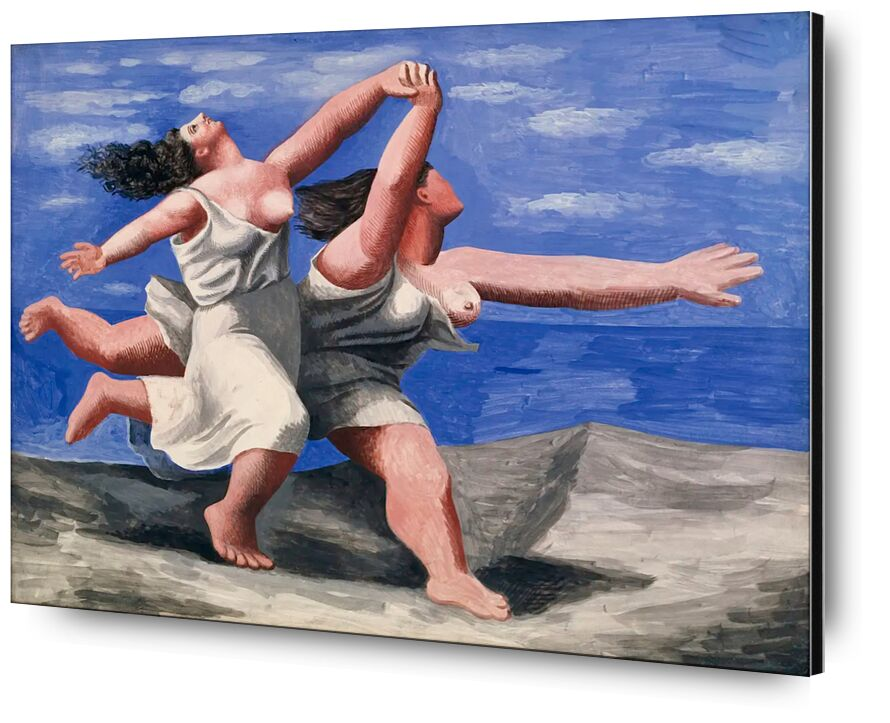 Two women running on the beach desde AUX BEAUX-ARTS, Prodi Art, carrera a pie, curso, mujeres, picasso, pintura, playa, nubes, cielo