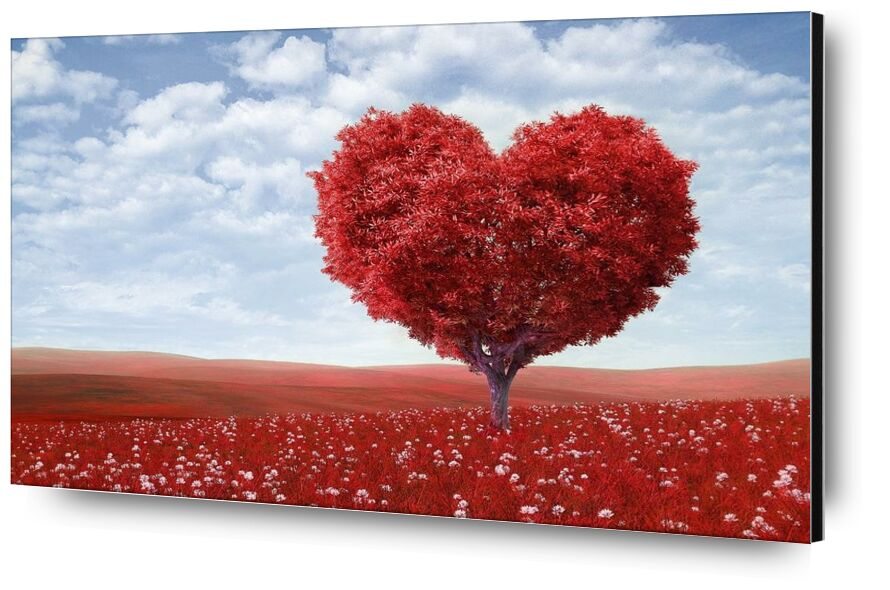 In the shape of heart from Pierre Gaultier, Prodi Art, artistic, blossom, bright, clouds, countryside, field, flora, flowers, heart, horizon, landsape, landscape, leaves, love, nature, outdoors, peaceful, red, romantic, tree