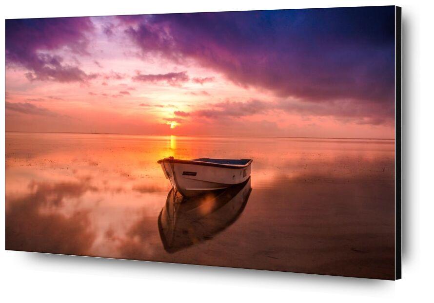On the rowboat from Pierre Gaultier, Prodi Art, water, sunset, sunrise, Sun, sky, seascape, sea, reflection, outdoors, ocean, nature, dusk, dawn, boat, beach