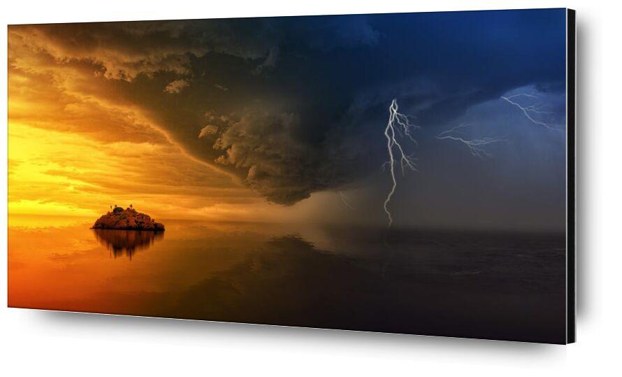 Tempête de Aliss ART, Prodi Art, Météo, eau, orage, couché de soleil, tempête, mer, réflexion, océan, éclair, île, HD wallpaper, crépuscule, dramatique, Aube, nuages