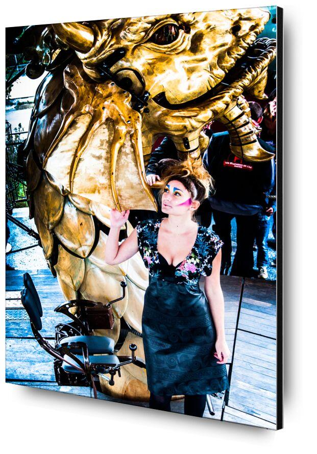 Kikimahwa de Marie Guibouin, Prodi Art, femme, portrait, maquillage, dragon, carrousel, Marin, machines de l'ile, nantes, marie guibouin, art, sculpture, or