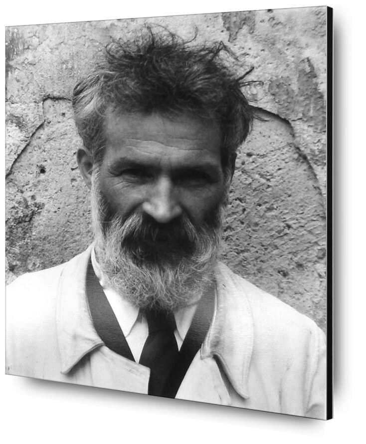 Brancusi in his workshop - Edward Steichen 1922 from Aux Beaux-Arts, Prodi Art, portrait, edward steichen, beard, black-and-white, workshop