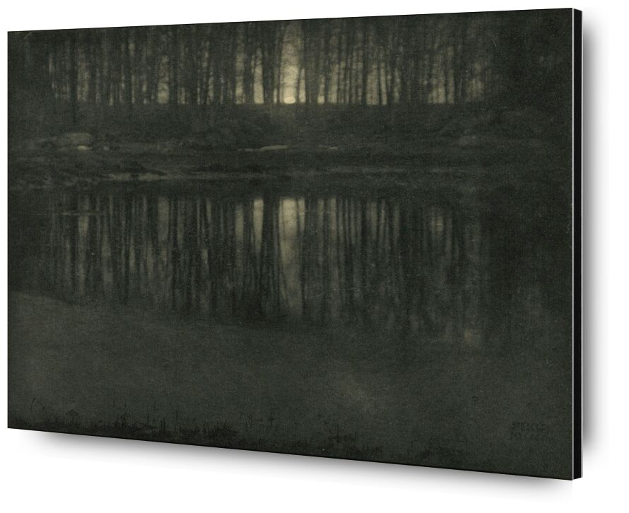 The Pond—Moonlight -Edward Steichen 1904 from Aux Beaux-Arts, Prodi Art, pond, light, Sun, sunset, edward steichen, black-and-white, against day