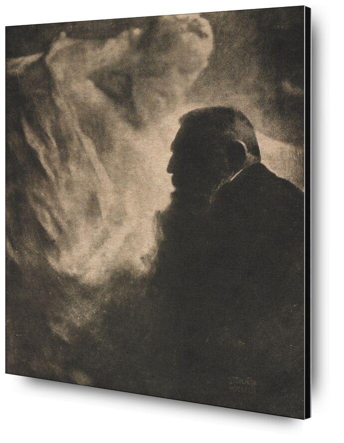 Portrait of Rodin. Photoengraving in Camera Work - Edward Steichen 1902 from AUX BEAUX-ARTS, Prodi Art, robin, portrait, black-and-white, edward steichen, auguste robin, photo eve