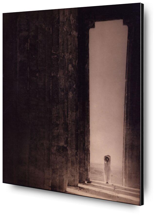 Isadora Duncan in the Parthenon - Edward Steichen 1921 desde AUX BEAUX-ARTS, Prodi Art, arena, desierto, blanco y negro, Edward Steichen, Egipto, panteón, Partenón, pirámide