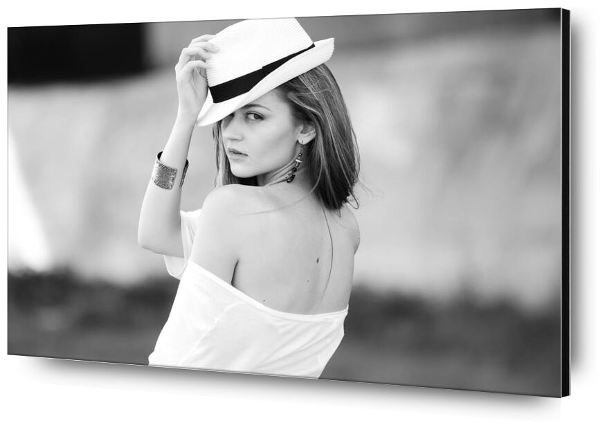 Woman and her hat from Pierre Gaultier, Prodi Art, adult, attractive, beautiful, beauty, black-and-white, bracelet, casual, cute, eyes, face, fashion, fedora, freedom, girl, hand, hat, head, lips, lonely, long hair, makeup, model, outdoors, person, photoshoot, portrait, pretty, sad, sexy, skin, style, wear, white, woman, young, of golden earrings