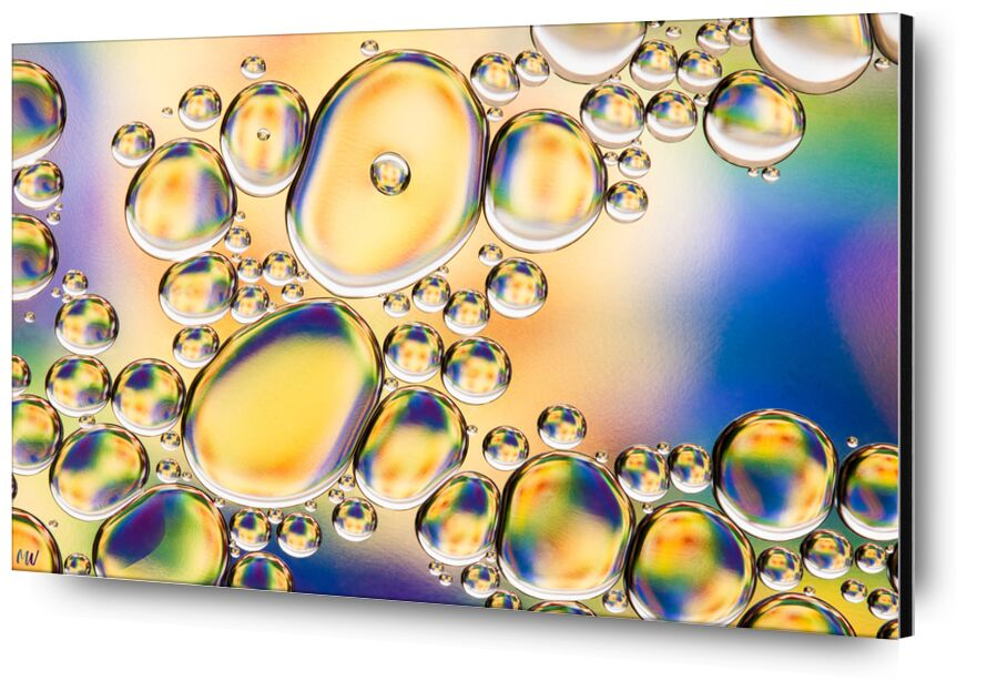 Oily bubbles #4 from Mickaël Weber, Prodi Art, yellow, blue, color, droplets, goutelettes, Bulles, drops, modern, modern, water, water, shapes, formes, fun, oily, oil, huile, green, macro, abstract, bebbles