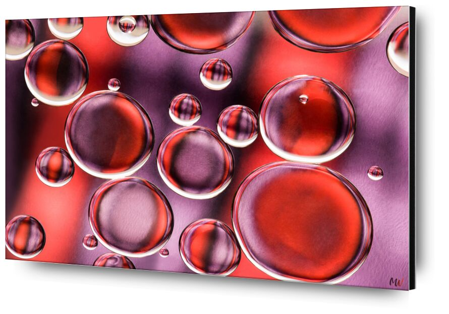 Oily bubbles #9 from Mickaël Weber, Prodi Art, orange, purple, abstract, macro, color, droplets, huile, oil, oily, fun, formes, shapes, water, modern, Bulles, bubbles, drops, goutelettes