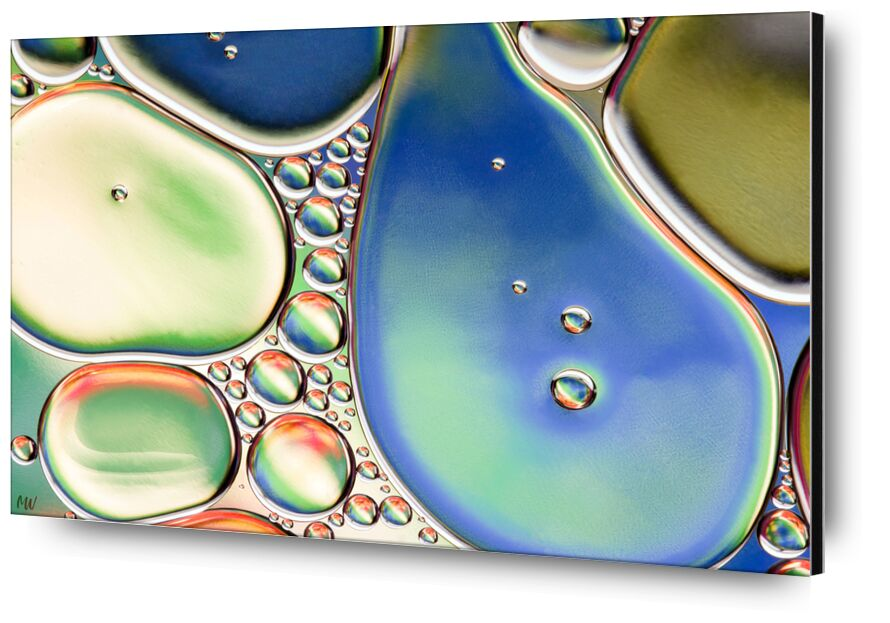 Oily bubbles #11 from Mickaël Weber, Prodi Art, color, droplets, goutelettes, drops, bubbles, Bulles, modern, modern, water, water, shapes, formes, fun, oily, oil, huile, macro, abstract, blue, orange, green