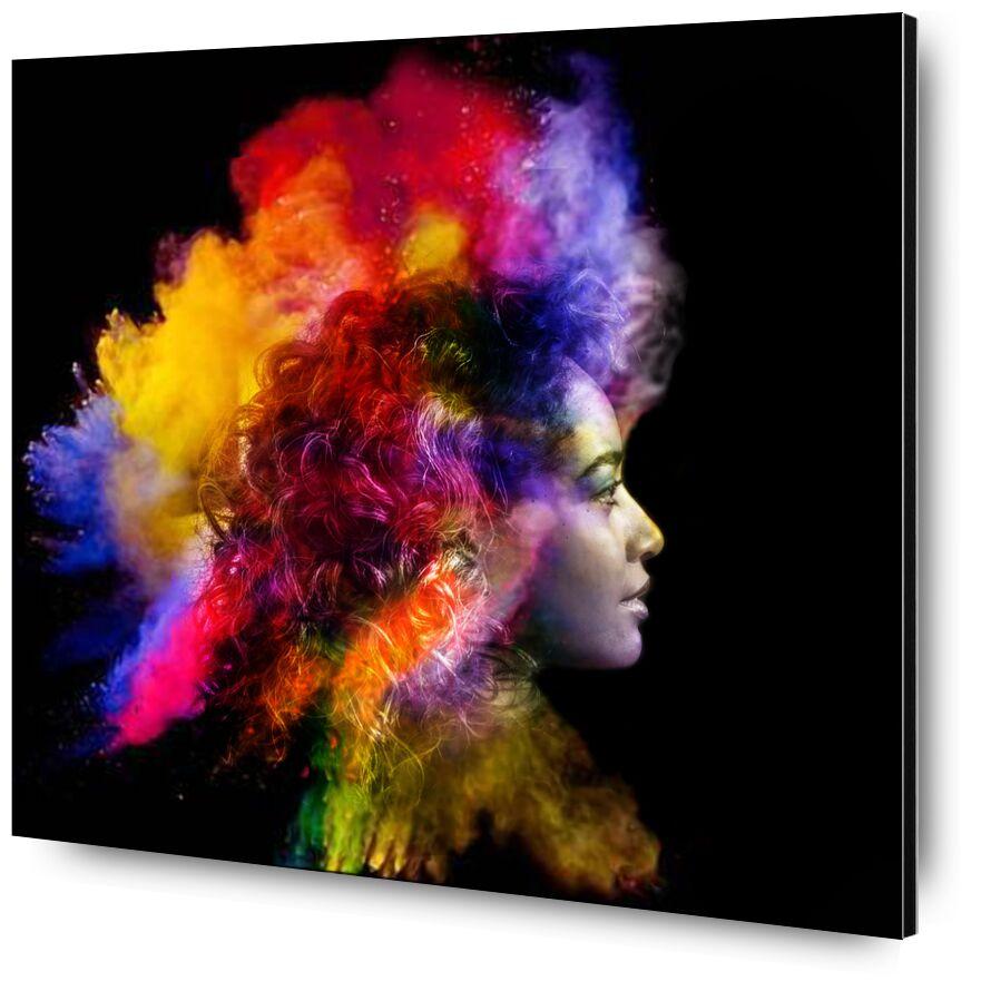 In a flash of smoke from Adam da Silva, Prodi Art, red, black, face, woman, lightning, smoke