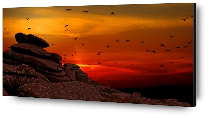 Flying to the Sunset from Pierre Gaultier, Prodi Art, sunset, sunrise, silhouette, scenic, rocks, landscape, flying, flock, dusk, dawn, birds