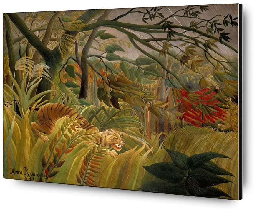 Tiger in a Tropical Storm from AUX BEAUX-ARTS, Prodi Art, flowers, tiger, trees, jungle, tropic, rousseau