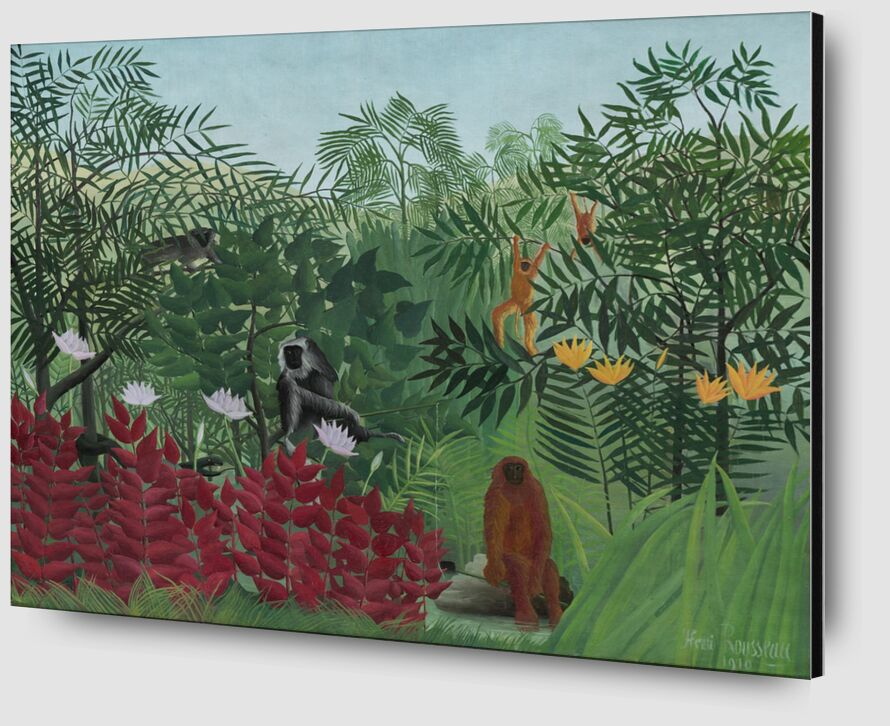 Tropical forest with monkeys desde AUX BEAUX-ARTS Zoom Alu Dibond Image