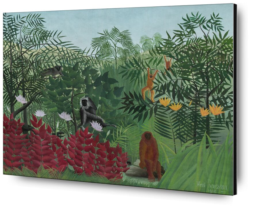 Tropical forest with monkeys from AUX BEAUX-ARTS, Prodi Art, nature, rousseau, forest, jungle, snake, trees, monkeys