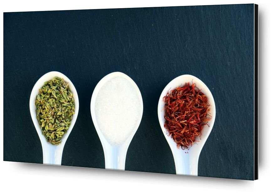 Flavors from Pierre Gaultier, Prodi Art, white, spoon, spicy, spices, seed, salt, saffron, red, ingredients, herbs, green, food, cooking, cook, condiments, chili, aroma