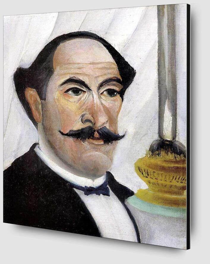 Self-portrait of the artist with a Lamp from AUX BEAUX-ARTS Zoom Alu Dibond Image