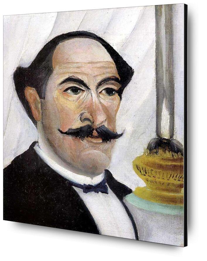 Self-portrait of the artist with a Lamp from AUX BEAUX-ARTS, Prodi Art, painting, lamp, portrait, rousseau