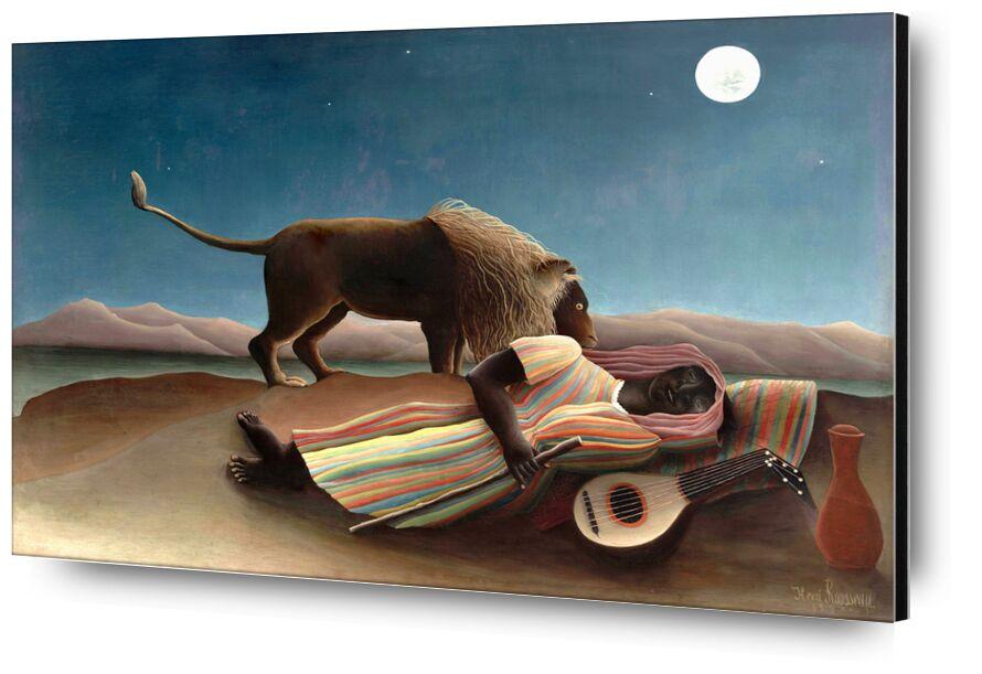 The sleeping gypsy from AUX BEAUX-ARTS, Prodi Art, sand, music, guitar, stars, wild, Lion, Moon, desert, rousseau