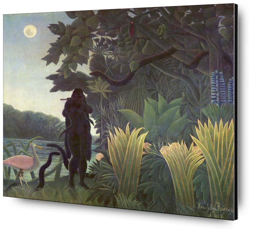 The Snake Charmer desde AUX BEAUX-ARTS, Prodi Art, encantador de serpientes, hombre encantador, serpientes, selva, bosque, luna, Rousseau, naturaleza