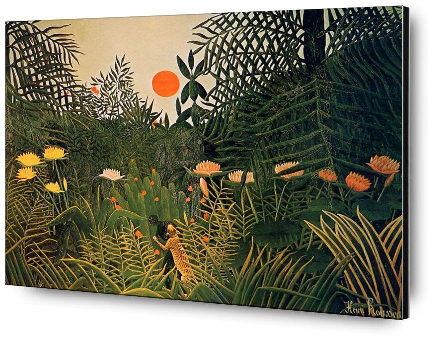 Attacked by a jaguar from AUX BEAUX-ARTS, Prodi Art, Sun, jungle, rousseau, forest, jaguar, attack