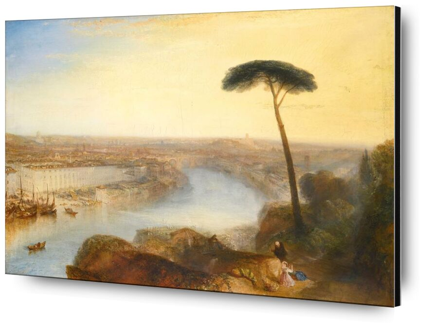 Rome, From Mount Aventine - WILLIAM TURNER 1835 from AUX BEAUX-ARTS, Prodi Art, Mountain, rome, WILLIAM TURNER, summer, River, painting, Sun, sky, mountains, nature, tree