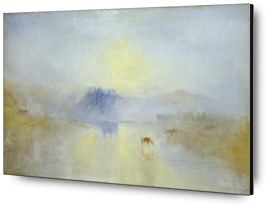 Norham Castle, Sunrise - WILLIAM TURNER 1845 from Aux Beaux-Arts, Prodi Art, chateau, horses, england, WILLIAM TURNER, painting, Sunrise, Norham