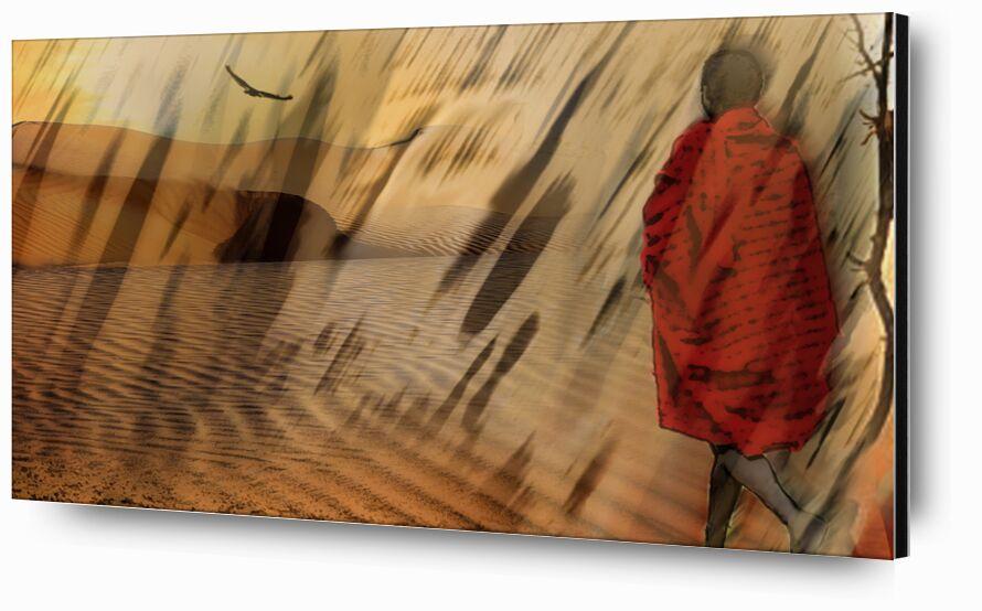 The march of Maasai from Adam da Silva, Prodi Art, desert, market, Sun, drought, dune, sand, tree, massaï, , vulture, Sandstorm