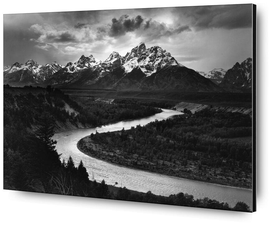 Snake River, Las Cruces, ANSEL ADAMS 1942 desde AUX BEAUX-ARTS, Prodi Art, río, montañas, invierno, nieve, ANSEL ADAMS, nubes, ligero, sol, rayo de sol