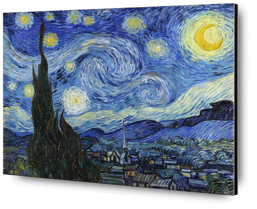 The Starry Night - VINCENT VAN GOGH 1889 from Aux Beaux-Arts, Prodi Art, , astrait, painting, village, tree, stars, night, mountains, valley