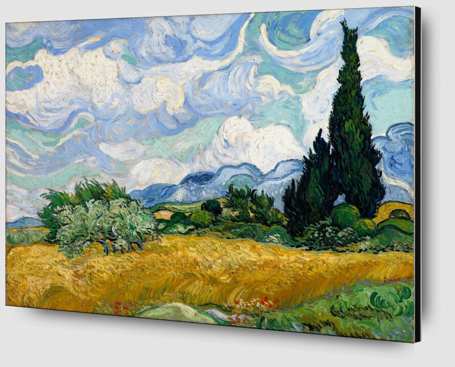 Wheat Field with Cypresses - VINCENT VAN GOGH 1889 desde AUX BEAUX-ARTS Zoom Alu Dibond Image