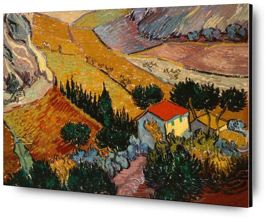 Landscape with House and Ploughman - VINCENT VAN GOGH 1889 from AUX BEAUX-ARTS, Prodi Art, House, path, trees, wheat fields, fields, landscape, painting, VINCENT VAN GOGH