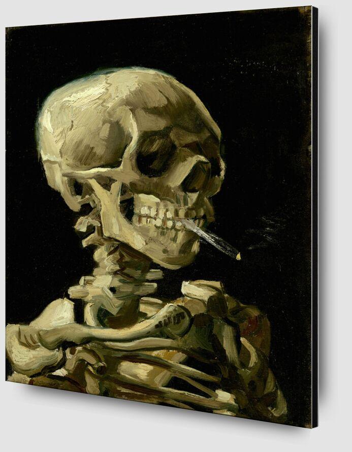 Crâne de squelette fumant une cigarette - VINCENT VAN GOGH de Aux Beaux-Arts Zoom Alu Dibond Image