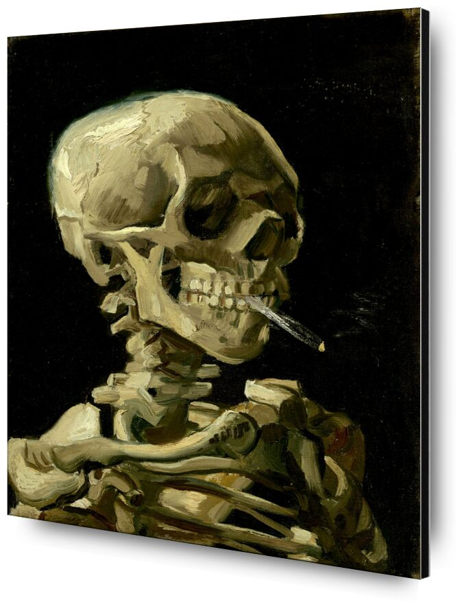 Head of a Skeleton with a Burning Cigarette - VINCENT VAN GOGH from Aux Beaux-Arts, Prodi Art, black, dark, , guts, skeleton, cigarette, death, smoke