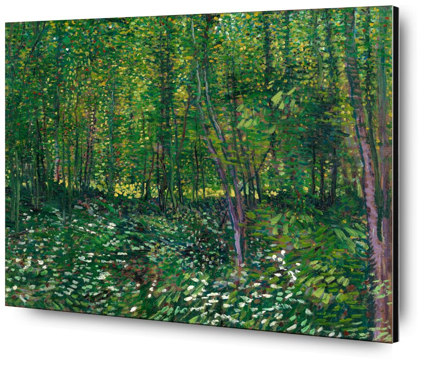 Trees and undergrowth - VINCENT VAN GOGH 1887 from Aux Beaux-Arts, Prodi Art, undergrowth, , painting, flowers, trees, forest, green, nature, wood