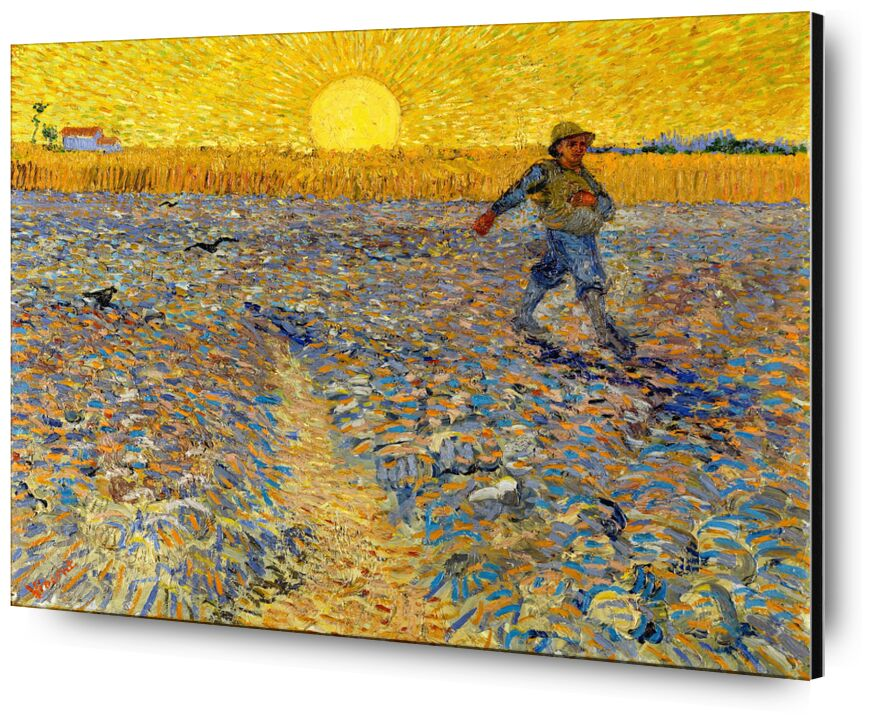 Le semeur au soleil couchant - VINCENT VAN GOGH 1888 de Aux Beaux-Arts, Prodi Art, semer, agriculteur, paysan, VINCENT VAN GOGH, champs, peinture, soleil, champs de blé, paysage