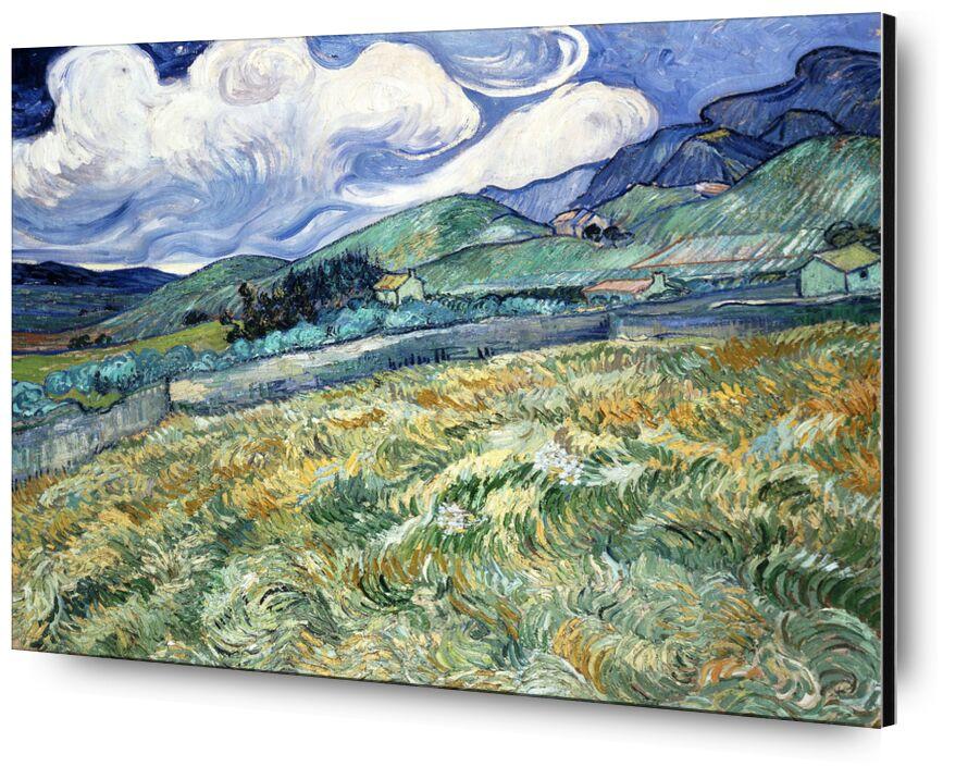 Landscape at Saint-Rémy - VINCENT VAN GOGH 1889 from AUX BEAUX-ARTS, Prodi Art, houses, VINCENT VAN GOGH, nature, clouds, meadow, trees, fields, wheat fields, painting