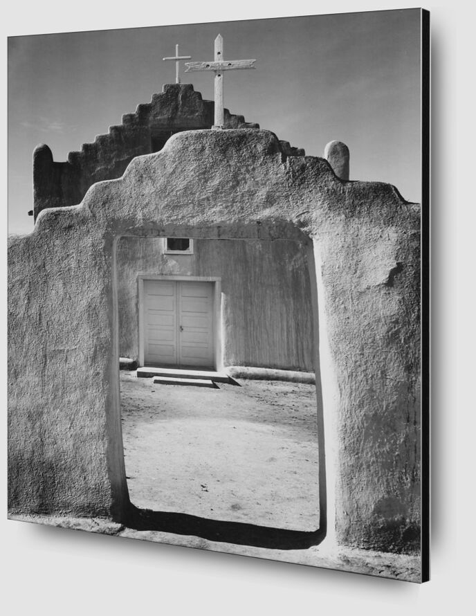 Church Taos pueblo, New Mexico - ANSEL ADAMS 1942 desde AUX BEAUX-ARTS Zoom Alu Dibond Image