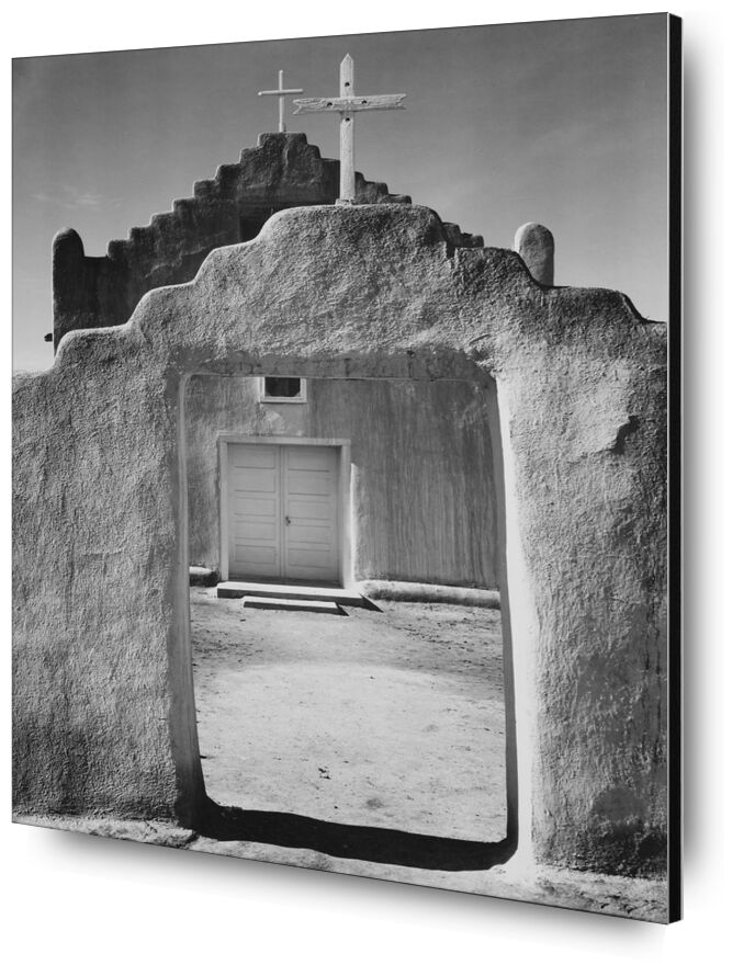 Church Taos pueblo, New Mexico - ANSEL ADAMS 1942 from AUX BEAUX-ARTS, Prodi Art, church, Entrance, message, black-and-white, ANSEL ADAMS, door