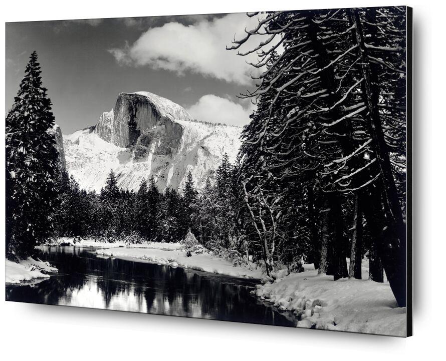 Demi-dôme rivière hiver Yosemite ANSEL ADAMS 1938 de Aux Beaux-Arts, Prodi Art, épingle, forêt, montagnes, noir et blanc, hiver, neige, arbre, ANSEL ADAMS, fleuve
