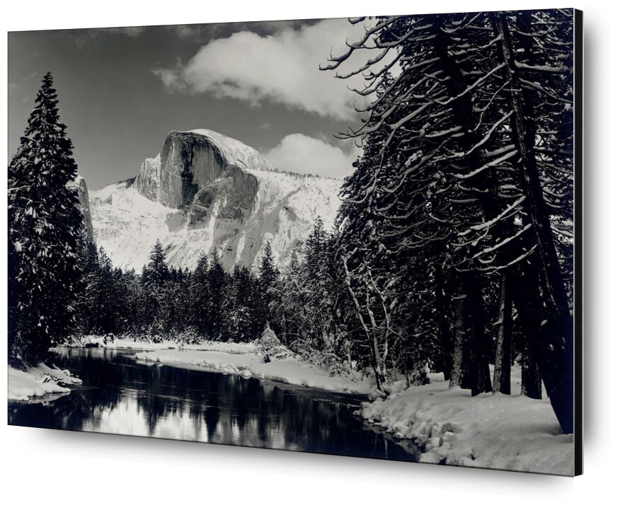 Half dome merced river winter Yosemite ANSEL ADAMS 1938 from AUX BEAUX-ARTS, Prodi Art, pin, forest, mountains, black-and-white, winter, snow, tree, ANSEL ADAMS, River