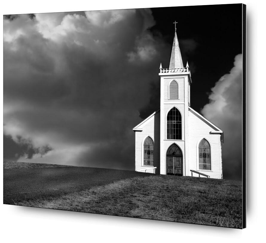 Photo d'église, ANSEL ADAMS - 1937 de Aux Beaux-Arts, Prodi Art, route, solitude, ANSEL ADAMS, église, nuages, tempête, prairie, orage
