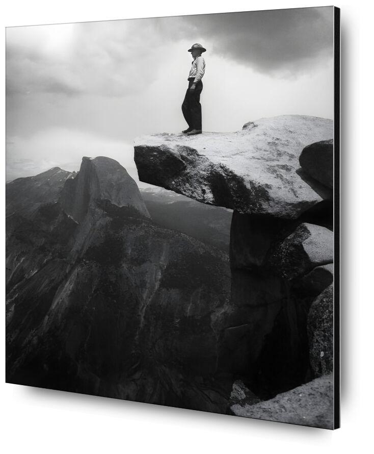 Yosemite, the cowboy - ANSEL ADAMS - 1948 desde AUX BEAUX-ARTS, Prodi Art, montañas, nubes, oscuro, blanco y negro, ANSEL ADAMS, vaquero, rock