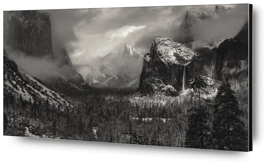 Yosemite, United States - ANSEL ADAMS 1952 from Aux Beaux-Arts, Prodi Art, black-and-white, mountains, clouds, winter, snow, tree, pine trees, forest, ANSEL ADAMS