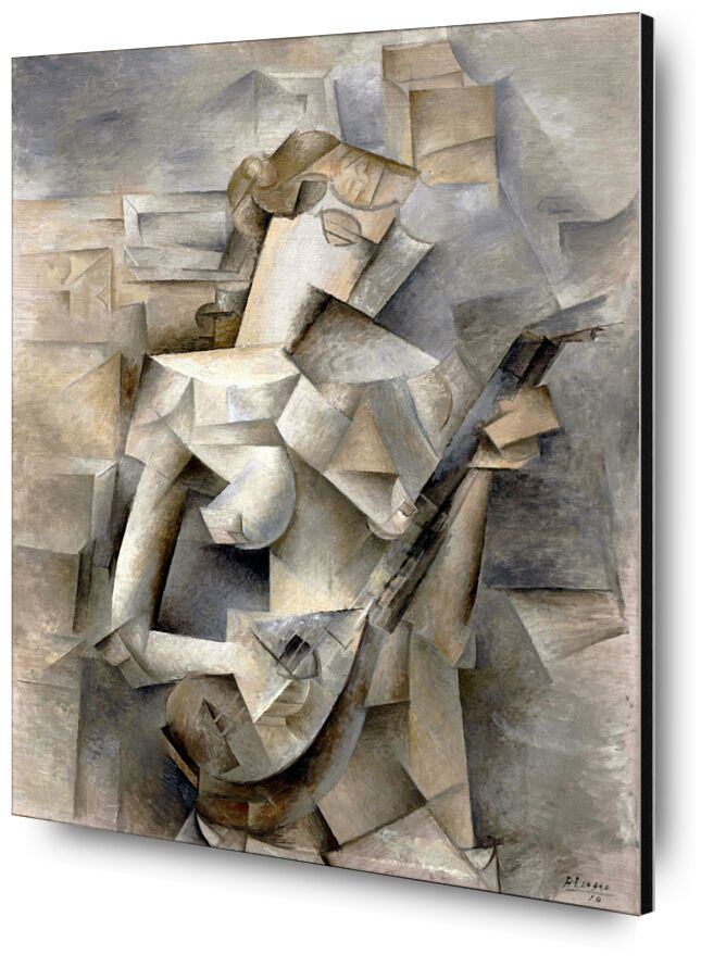 Girl with a Mandolin - Pablo Picasso 1910 from AUX BEAUX-ARTS, Prodi Art, young lady, guitar, music, violin, mandolin, woman, girl, blonde hair, PABLO PICASSO